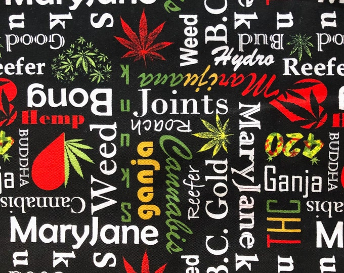 """100% Cotton """"Reefer Madness"""" Fabric / By the Yard / Marijuana Fabric / Cannabis Material"""