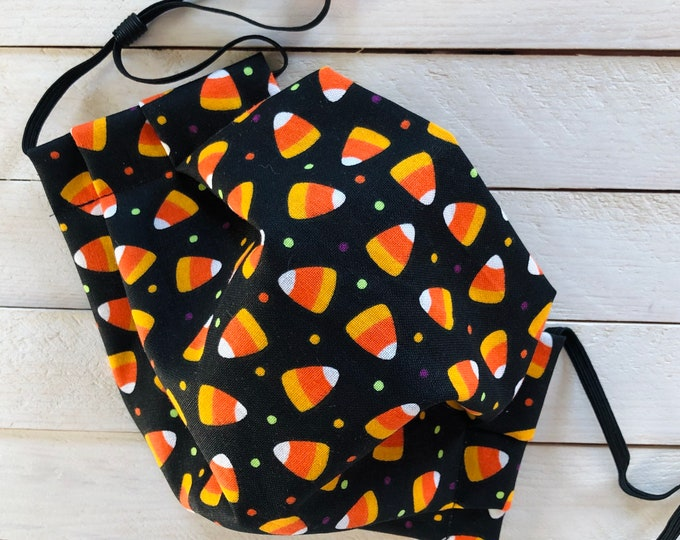 "Adjustable Face Mask ""CANDY CORN CUTIE"" / Halloween Candy Face Mask / Pleated Mask with Elastic Ear Loops / Filter Pocket and Nose Wire"