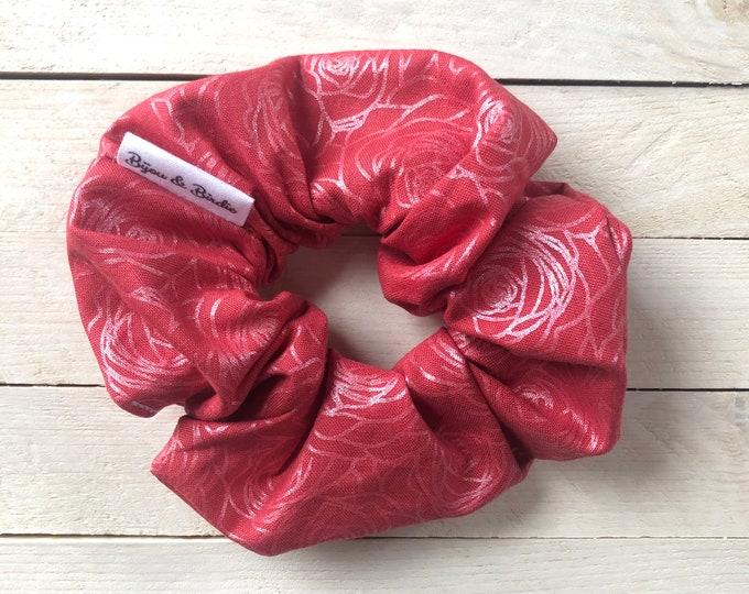 "Hair Scrunchie ""ROCK'N ROSE"" / Metallic Roses Floral Premium Hair Scrunchie / Bijou & Birdie Scrunchies for Medium and Thick Hair"