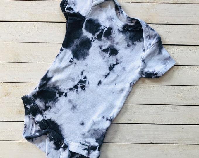 "Tie Dye Baby Onesie ""Stormy Skies"" Dark Grey-Black / Breathable, 100% Cotton / Snap Closure / Baby Gift Idea"