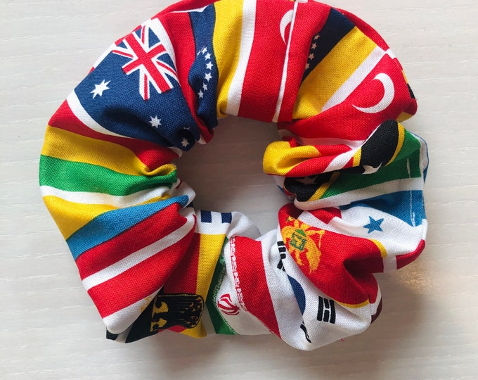 """Hair Scrunchie """"UNITED NATIONS"""" / World Flags Premium Hair Scrunchie / Bijou & Birdie Scrunchies for Medium and Thick Hair"""