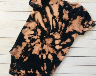 "Reverse Tie Dye Baby Onesie ""Back in Black"" Bleach Tie Dye / Breathable, 100% Cotton / Snap Closure / Baby Shower Gift Idea"