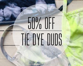 SALE: Tie Dye Duds Cotton Face Mask Set / Pocket Stuffer / Washable / Womens & Teen / One Size Fits S-M