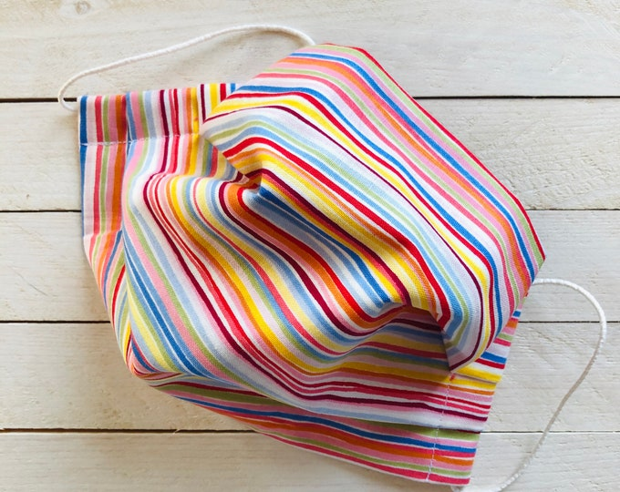 """Adjustable Face Mask """"SQUIGGLY STRIPES"""" / Colourful Stripes Face Mask / Pleated Mask with Elastic Ear Loops / Filter Pocket and Nose Wire"""