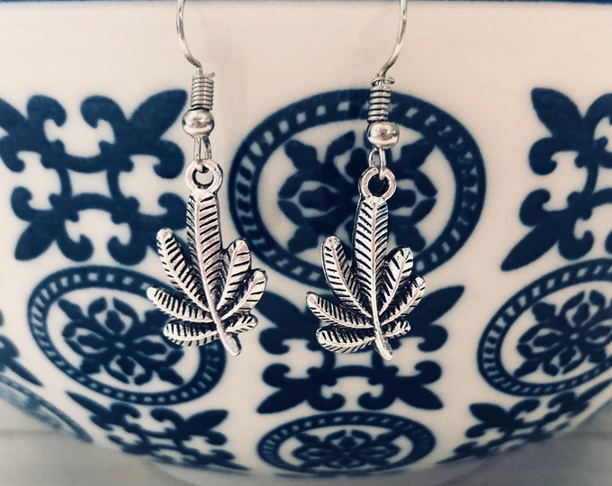 Simple Pot Leaf Earrings / Stainless Steel / Dangle Marijuana Leaf Earrings / Stoner Girl Gifts / Cute 420 Accessories