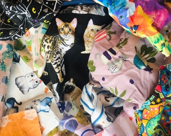 100% Cat Fabric Scraps / Cotton Scraps for Quilting and Small Sewing Projects / Bijou  & Birdie Premium Fabric Scraps
