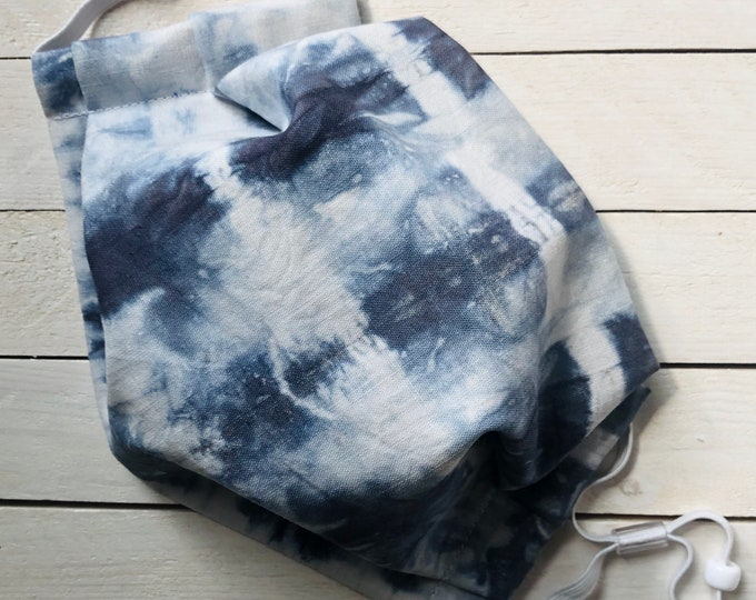 Hand Tie Dyed Cotton Adjustable Face Mask / Tie Dye / Jean Blue / Washable / Adult / Elastic / Filter Pocket / Nose Wire
