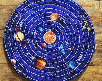 "Catnip Mat ""Solar System"" Flannel Backing / Refillable / Washable / Cat Mat for Sleeping and Playing / Catnip Included"