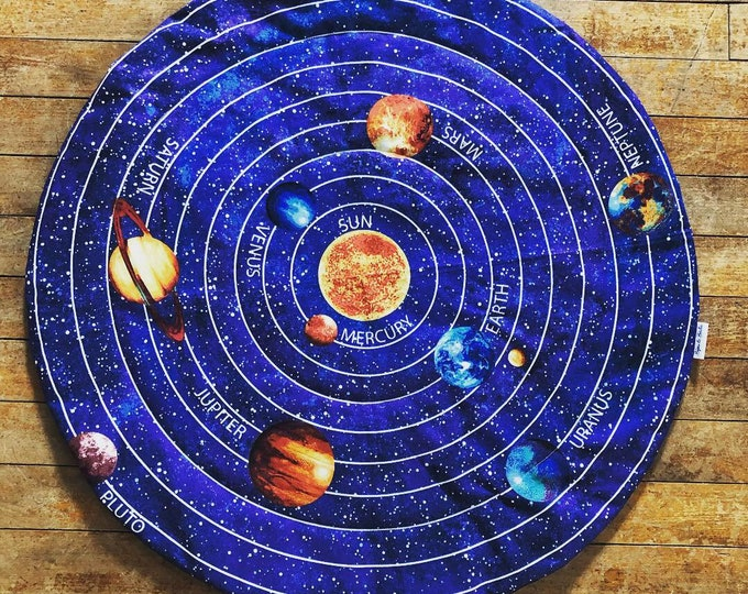 """Catnip Mat """"Solar System"""" Flannel Backing / Refillable / Washable / Cat Mat for Sleeping and Playing / Catnip Included"""