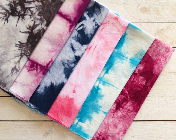 """Tie Dye Fabric Pieces 12"""" X 15"""" / Tie Dye Fabric Rectangles / Dyed by Hand / Perfect for Small Projects and Face Masks / Kona Premium Solids"""