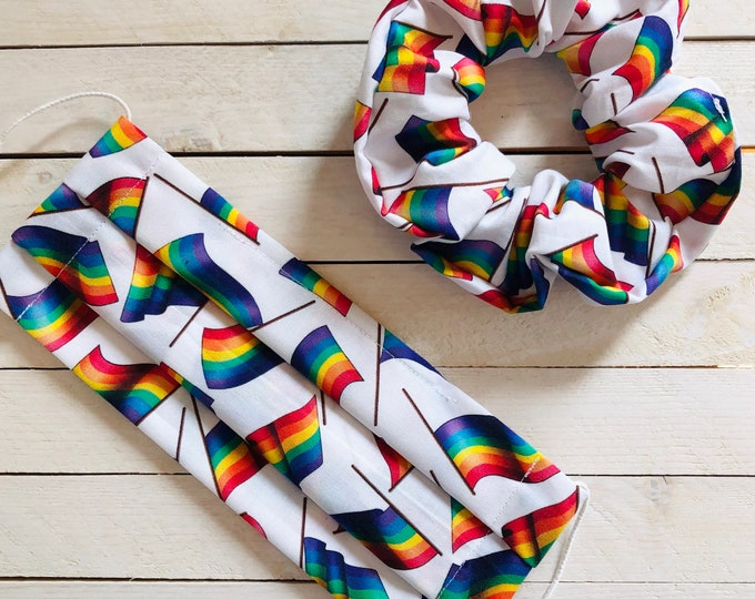 """Face Mask & Scrunchie Set """"PRIDE BABE"""" / LGBTQ Pride Matching Hair Tie and Face Mask Set / Rainbow Flags Hair Scrunchie and Mask"""