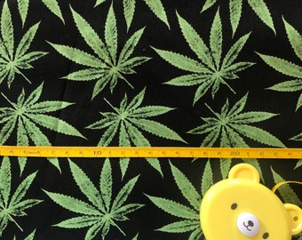 "100% Cotton ""Keep on the Grass"" Fabric / By the Yard / Marijuana Fabric / Cannabis Material"