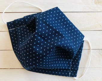 """Adjustable Face Mask """"DAINTY DOTS"""" / Blue Polka Dots Face Mask / Pleated Mask with Elastic Ear Loops / Filter Pocket and Nose Wire"""