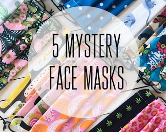 5 Mystery Face Masks / Washable / Cotton / Adjustable / Filter Pocket / Unisex / Adult / Value Sale Set / Adjustable Elastic