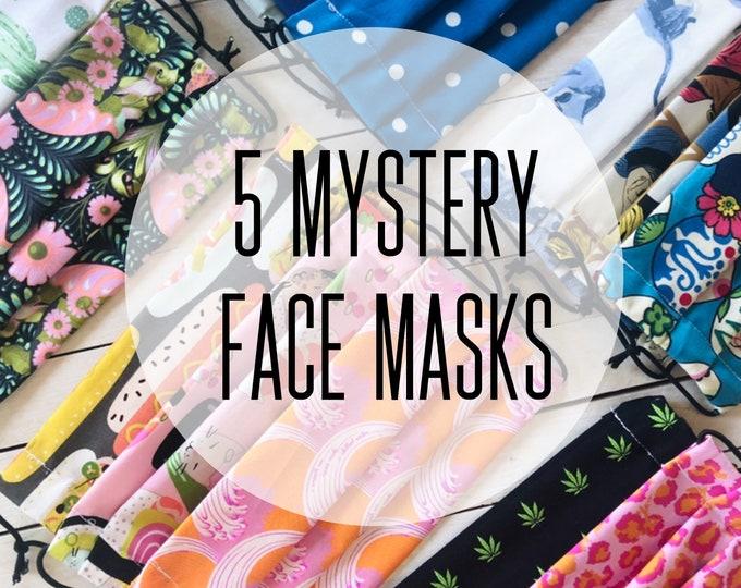 5 Mystery Face Masks / Washable / Cotton / Adjustable / Filter Pocket / Unisex / Adult / Value Sale Set / Adjustable Elastic