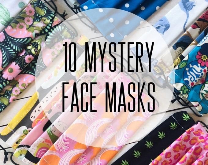 10 Mystery Face Masks / Washable / Cotton / Adjustable / Filter Pocket / Unisex / Adult / Value Sale Set / Adjustable Elastic