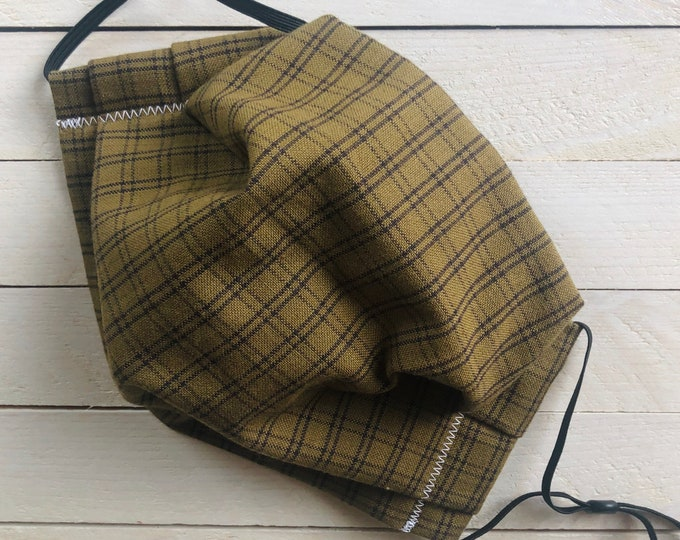 "Linen Adjustable Face Mask ""GREEN SOPHISTICATION"" / Green Plaid Mask / Pleated Mask with Elastic Ear Loops / Filter Pocket and Nose Wire"