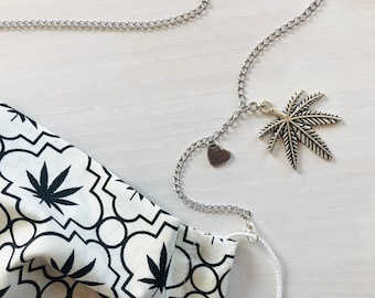"""420 Mask Holder Stainless Steel Chains with Marijuana Leaf / 30"""" long / Face Mask Fashion Lanyard / Silver Weed Chain"""