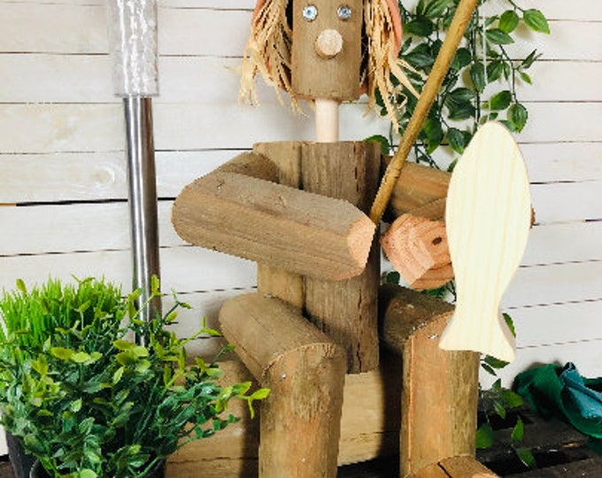 Flower Pot Friend / FISHING / Garden Decor / Home & Garden / Outdoor and Indoor Wooden People / Unique Gift Ideas for Gardeners