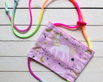 """Kids Adjustable Face Mask """"Unicorn Magic"""" / Rainbow Paracord / Sports Children's Face Mask / Filter Pocket and Nose Wire / Ages 3-12"""