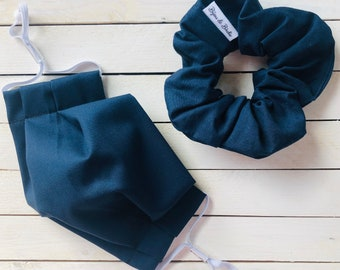 """Face Mask & Scrunchie Set """"DARK BLUE DARLING"""" / Matching Hair Tie and Face Mask Set / Hair Scrunchies and Mask / Filter Pocket"""