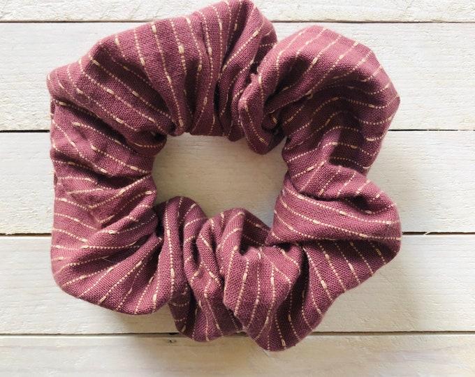 """Linen Hair Scrunchie """"MAROON MAGIC"""" / Premium Hair Scrunchie / Bijou & Birdie Scrunchies for Medium and Thick Hair"""