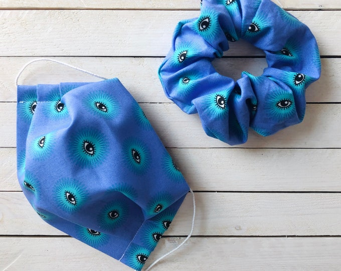 """Face Mask & Scrunchie Set """"EYE SEE YOU"""" / Periwinkle Eyes Matching Hair Tie and Face Mask Set / Hair Scrunchies and Mask"""