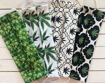 "Face Mask ""Stoner Set""/ Cotton / Washable / Adult / Adjustable Elastic / Filter Pocket / Cannabis Face Mask / 420 Face Mask / Nose Wire"