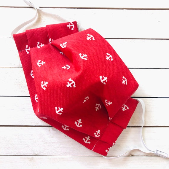 "Face Mask ""Anchors Aweigh"" / Cotton / Washable / Adult / Adjustable Elastic / Filter Pocket / Red Sailor Face Mask / Nose Wire"