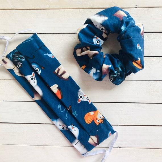 "Cotton Scrunchie & Adjustable Face Mask Matching Set ""Kitty Kat Blue"" / Washable / Adult / Elastic / Filter Pocket / Cats"