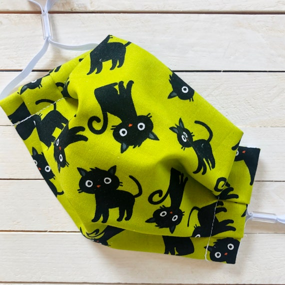 "Face Mask ""Scaredy Cat"" / Cotton / Washable / Adult / Adjustable Elastic / Filter Pocket / Nose Wire / Cat Face Mask"