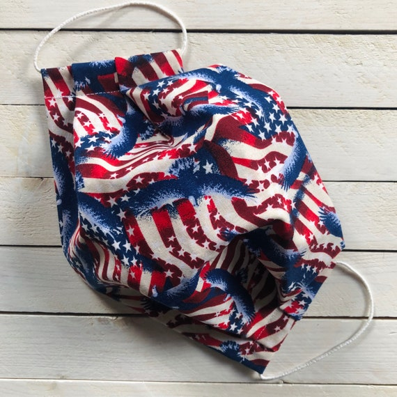 "Adjustable Face Mask ""The American Dream"" / Cotton / Washable / Adult / Elastic / Filter Pocket / Nose Wire"
