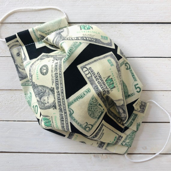"Adjustable Face Mask ""Cash Money"" Dollar Bills Money Mask / Washable Cotton / Adult / Elastic / Filter Pocket / Nose Wire"