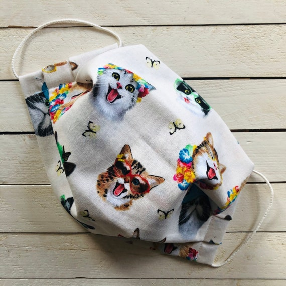"""Adjustable Face Mask """"Cats on Vacation"""" / Cotton Washable Face Mask / Adult / Elastic / Filter Pocket / Nose Wire"""