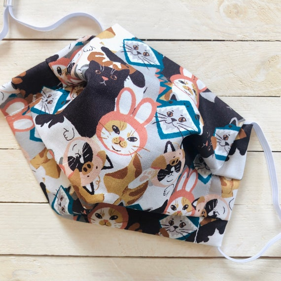 "Face Mask ""Cats in Hats"" / Cotton / Washable / Adult / Adjustable Elastic / Filter Pocket / Nose Wire"