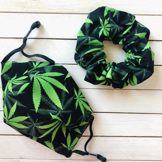 "Scrunchie & Face Mask Matching Set ""Perfect Pot"" / Cotton / Washable / Adult / Adjustable Elastic / Filter Pocket / Cannabis Face Mask"