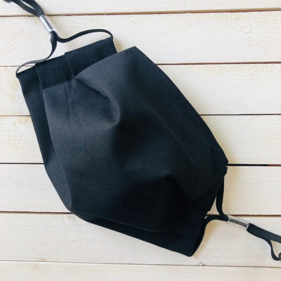 "Adjustable Face Mask ""Jet Black"" / Cotton / Washable / Adult / Elastic / Filter Pocket / Nose Wire /  Face Mask"