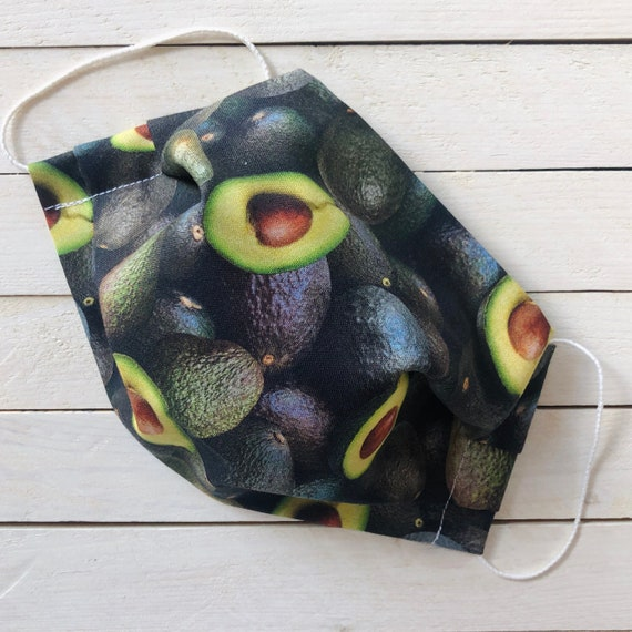 "Adjustable Face Mask ""Avocado Addict"" Avocado Lover Mask / Washable Cotton / Adult / Elastic / Filter Pocket / Nose Wire"