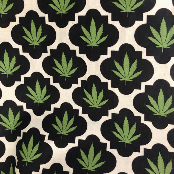 "100% Cotton ""Mary Jane"" Fabric / By the Yard & Half Yard / Marijuana Fabric / Cannabis Material"