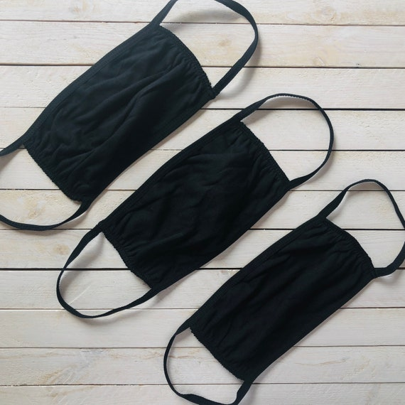 100% Cotton Face Mask in Black / Adjustable / One Size Fits Most