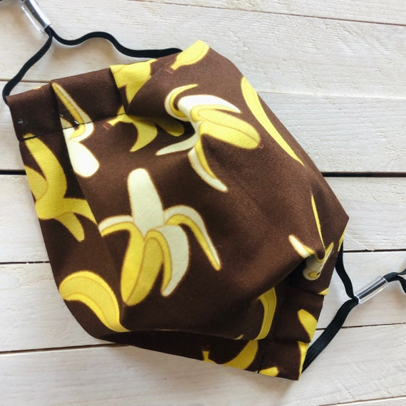 "Adjustable Face Mask ""Bananas & Chocolate"" / Cotton / Washable / Adult / Elastic / Filter Pocket / Nose Wire"