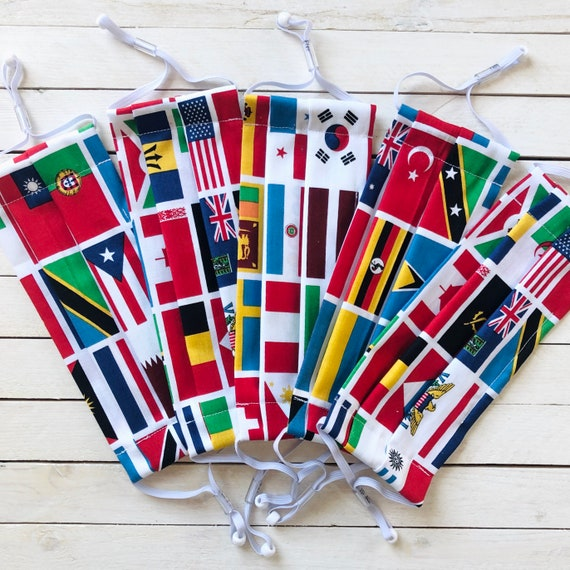 United Nations / International Flags Group & Team Face Mask Set / Filter Pocket, Nose Wire and Adjustable Elastics Included