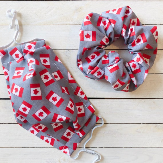 "Cotton Scrunchie & Adjustable Face Mask Matching Set ""Canada Day"" / Washable / Adult / Elastic / Filter Pocket / Canadian Flag Face Mask"