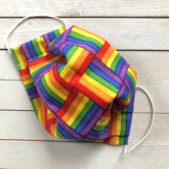 "Adjustable Face Mask ""Rainbow Weave"" / LGBTQ Face Mask / Washable / Cotton / Adult / Filter Pocket / Elastic"
