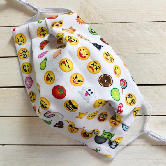 "Adjustable Face Mask ""Emoji Me""/ Cotton / Washable / Elastic / Adult / Filter Pocket / Nose Wire"