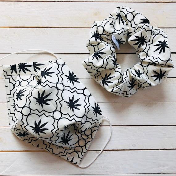 "Scrunchie & Face Mask Matching Set ""420"" / Cotton / Washable / Adult / Adjustable Elastic / Filter Pocket / Hair Tie / Mask Accessories"