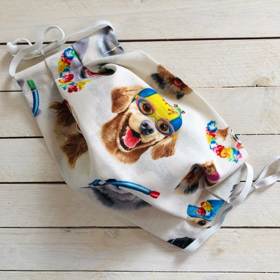 "Adjustable Face Mask ""Dogs on Vacation""/ Cotton / Washable / Adult / Elastic / Filter Pocket / Nose Wire / Dog Face Mask"