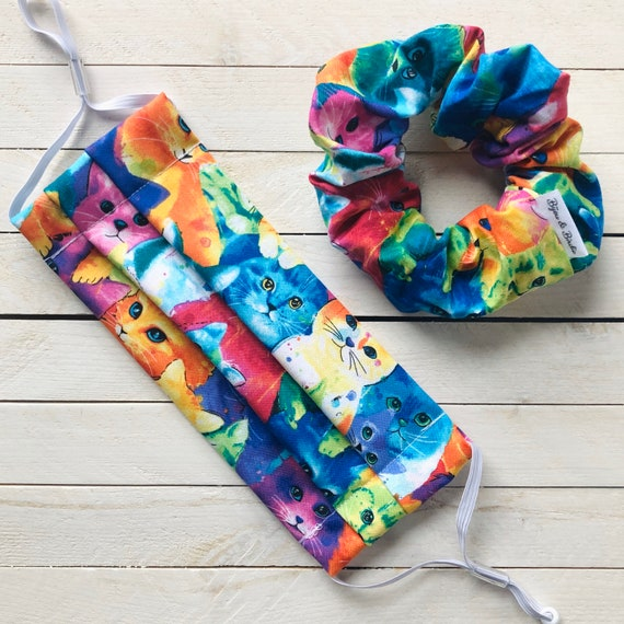 """Cotton Scrunchie & Adjustable Face Mask Matching Set """"All the Cats of the Rainbow"""" / Washable / Adult / Elastic / Filter Pocket"""