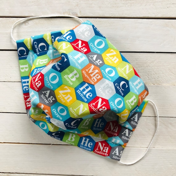 "Adjustable Face Mask ""BAZINGA"" /  Periodic Table of Elements / Washable / Cotton / Adult / Filter Pocket / Elastic / Nose Wire"