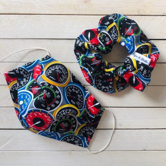 "Cotton Scrunchie & Adjustable Face Mask Matching Set ""Pedal To the Metal"" / Washable / Adult / Elastic / Filter Pocket"